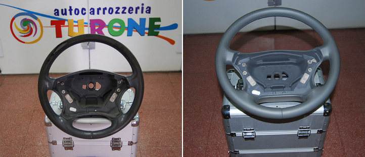 Ripristino volante auto, prima e dopo
